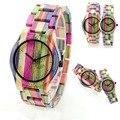 2016 Nueva Moda de Cuarzo Reloj de Las Mujeres A Todo Color De Bambú De Madera de Pulsera Para Mujer de la Marca de Lujo de Las Señoras Relojes de Madera Natural
