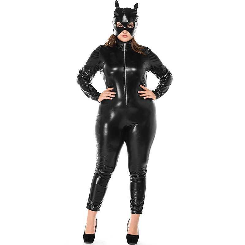 Seksi Faux Kulit Catsuit dengan Masker PVC Lateks Lingerie Bodysuit Clubwear Kucing Wanita Fetish Erotis Cosplay Kostum Plus Ukuran 3XL