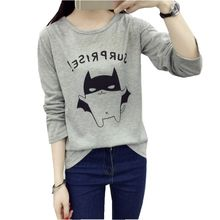 2016 New Arrival Women's Autumn T-Shirt Lovely Batman Printed Tee Superhero Basic Bottoming Long -sleeve Tops Free Shipping