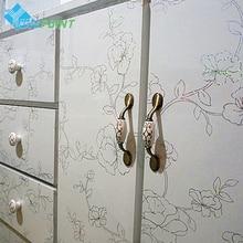 레이저 꽃 벽 스티커 자기 접착제 가구 장식 필름 냉장고 데 칼 오래 된 캐비닛 옷장 단장 한 방수 종이