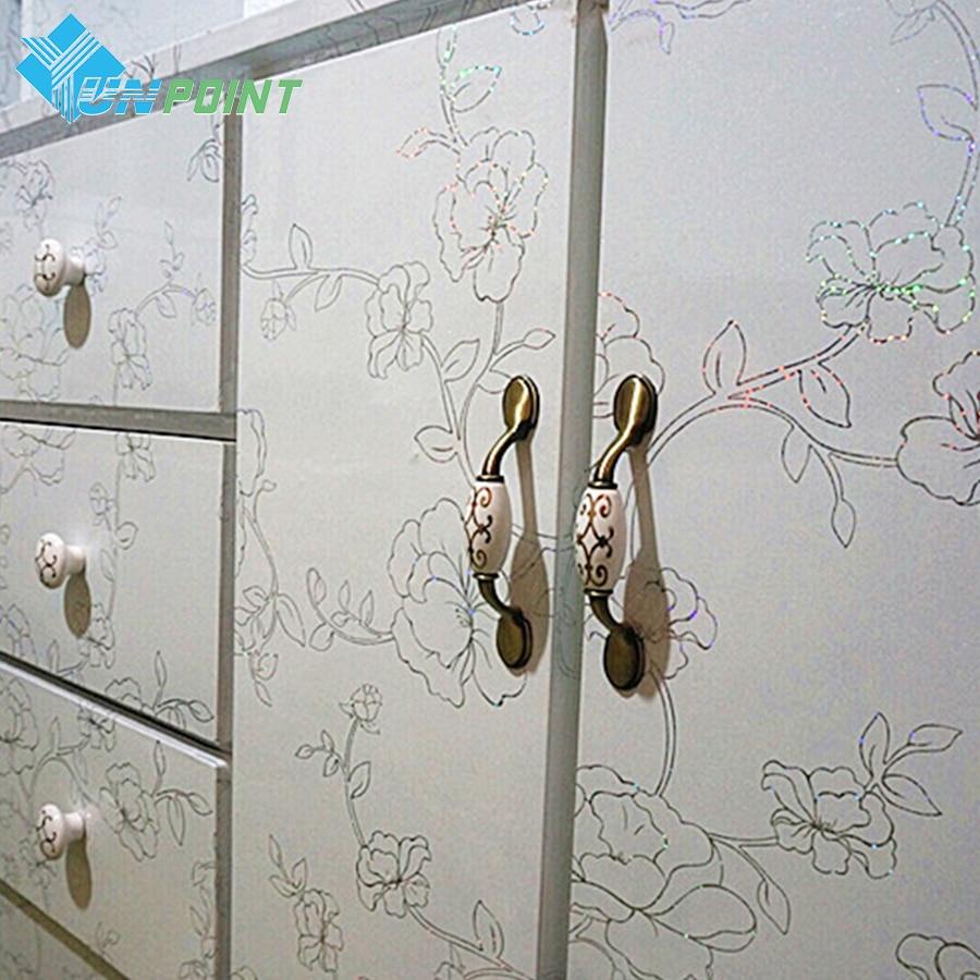 60cmX5m Thick Laser Flowers Desktop Stickers White DIY Home Decor Vinyl Wall Sticker for Kitchen Cabinet Refurbished Decals ...