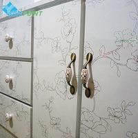 60cmX5m Thick Laser Flowers Desktop Stickers White DIY Home Decor Vinyl Wall Sticker for Kitchen Cabinet Refurbished Decals