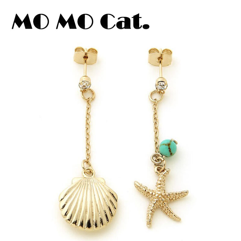 Free shipping Fashion jewelry Wholesale gift VIVI magazine's small fresh starfish shell earrings.