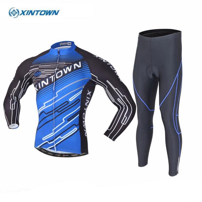 XINTOWN Cycling Jersey Sets Ropa Ciclismo Team Riding Long Sleeve Mens Bicycle Jerseys Bib Pants Padded Set Blue