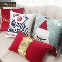 新年枕カバーサンタクロース枕カバー刺繍入り装飾枕雪枕カバーギフトyastik kilifi