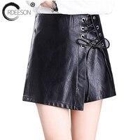 ORDEESON PU Leather Shorts High Waist Shorts 2018 Fashion Drawstring Shorts Fashion Black Sexy Cintura Alta Plus Size Skort