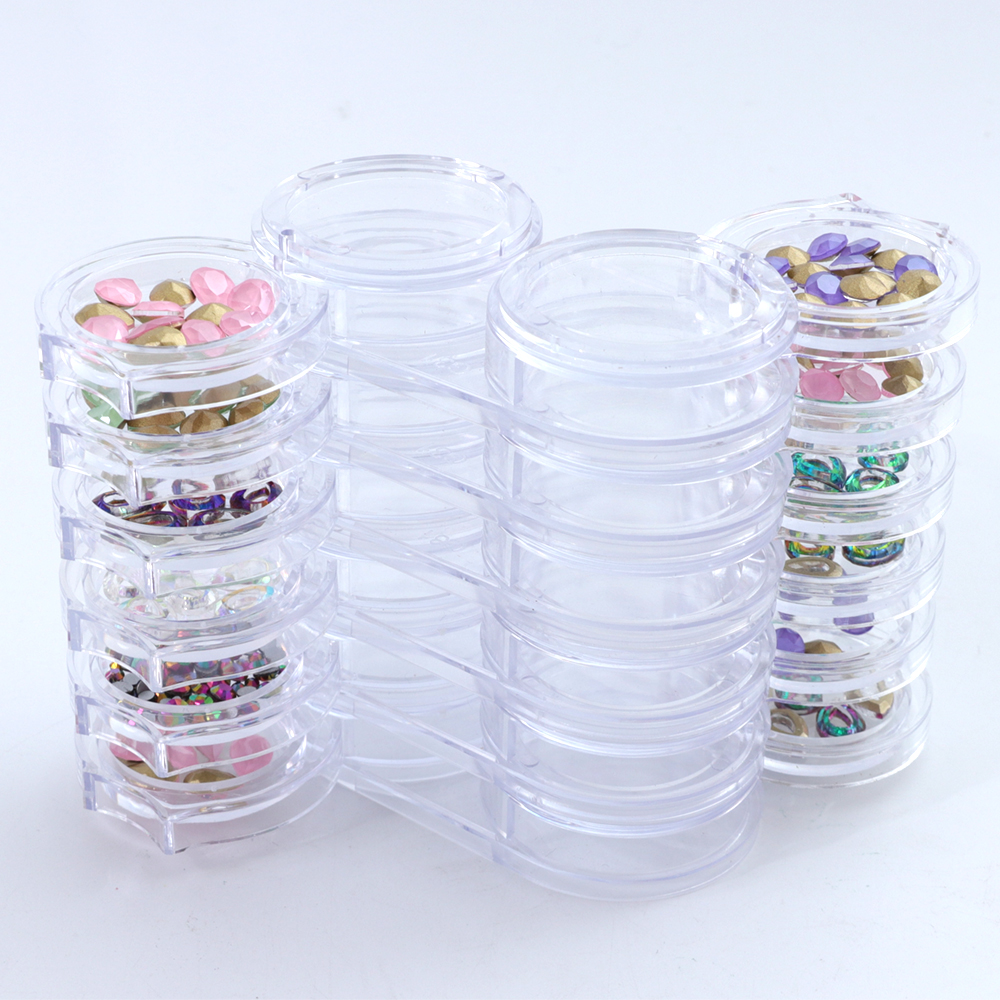 1 Set Nail Rhinestones Storage Crystal Nails Round 12 Grids Organizer Case Removable Plastic Jewelry Beads Manicure Tools BEA13