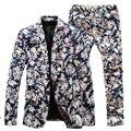 (Куртка + Брюки) мужчины Цветочный Костюмы 2016 Новый Дизайнер Модного бренда старинные Тонкий Цветочный Бизнес Фрак Blazer 3XL 4XL 5XL