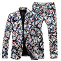 (Jacket+Pants) Men Floral Suits 2016 New Designer Brand Fashion vintage Slim Flower Business Dress Suit Blazer 3XL 4XL 5XL