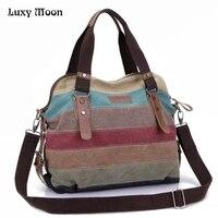 Rainbow Color Fashion Messenger Bags Canvas Super Patchwork Handbag 2016 Shopping Totes Handbags Casual Shoulder Bag
