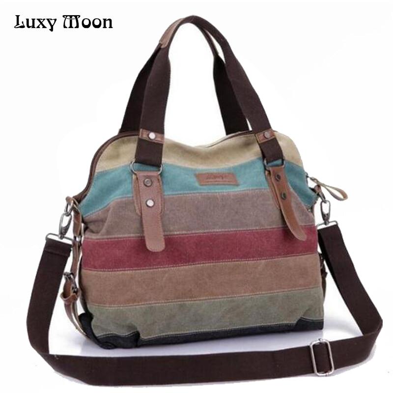 Luxy Moon Rainbow Color Fashion Messenger Bags Canvas Super patchwork handbag Shopping Totes Handbags Casual Shoulder Bag Bolsas moon flac jeans