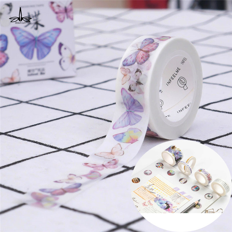 Free Shipping DIY Butterfly Masking Tape DIY Paper Adhesive Craft Washi Tape Decorative Sticker large size 200mm 5m old newspaper poste letter pattern japanese washi decorative adhesive tape diy masking paper tape sticker