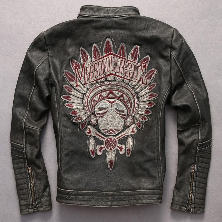 NEW ! Vintage genuine leather jacket men Indian character pattern motorcycle leather jacket men real cowskin punk leather coat m