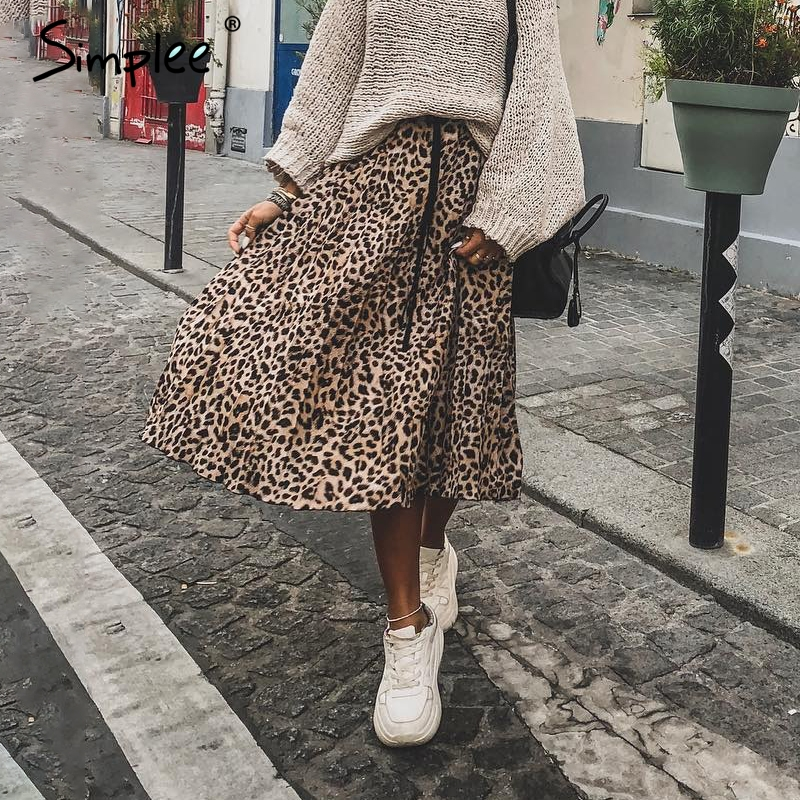 Simplee Vintage Leopard Print Pleated Skirts Women Punk Rock Korean Skirt Streetwear Drawstring Elastic Waist Ladies Midi Skirt