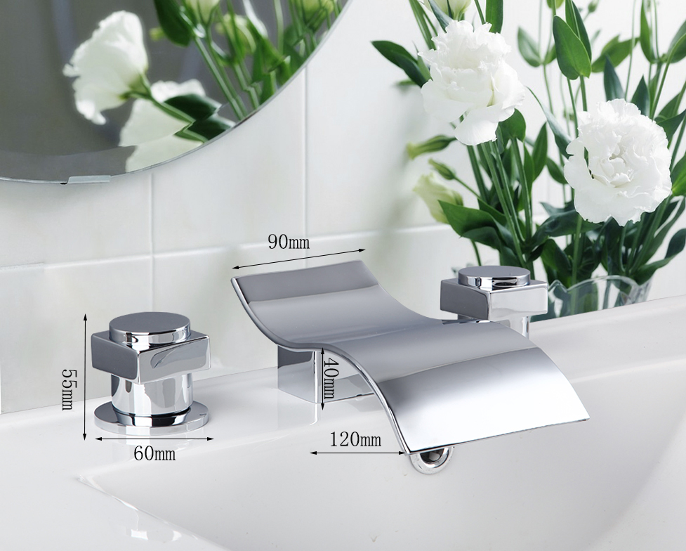 Chrome Brass Polished Basin Faucet Deck Mounted Three piece bathtub Faucet Bathroom Faucet Hot And Cold Mixer Taps free shipping polished chrome finish new wall mounted waterfall bathroom bathtub handheld shower tap mixer faucet yt 5333