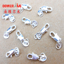 Design Jewelry Findings 10PCS Genuine Real 925 Sterling Silver Lobster Clasps For Necklace Bracelet With Opening 2 Jump Rings