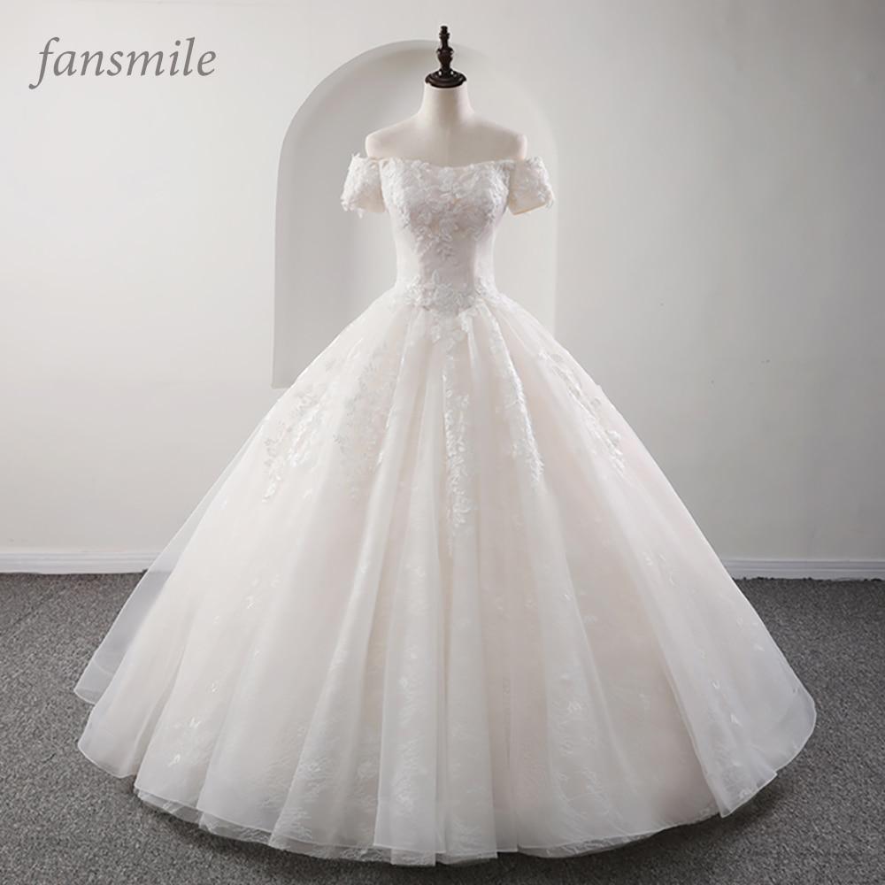 Fansmile New Arrival Princess Bridal Ball Gown Wedding Dresses 2019 Vestido De Noiva Plus Size Customized Wedding Gowns FSM-562F