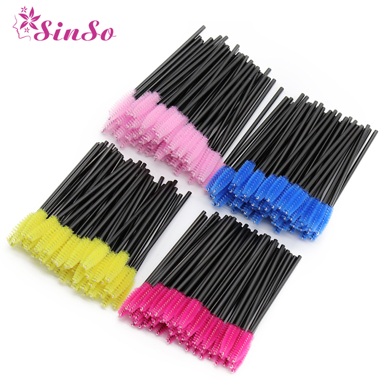 Sinso Eyelash Brush Makeup Brushes 50pcs Individual Disposable Mascara Applicator Comb Wand Lash Makeup Brushes Tools 6colors(China)