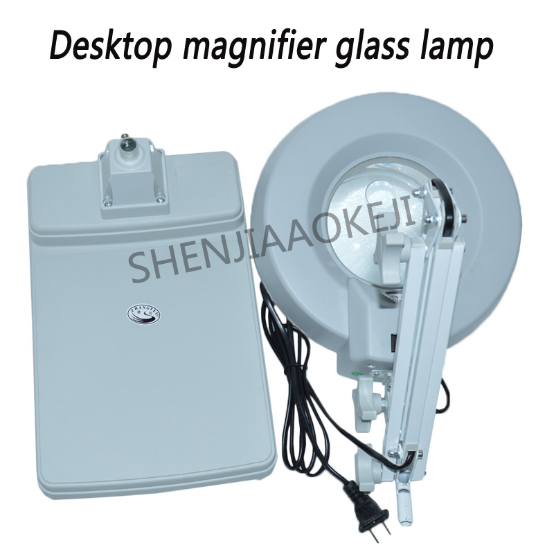 US $41 34 22% OFF Desktop magnifying glass LED lamp LT 86C magnification  3/5/8/10X folding Magnifier LED table light 110/220V 1pc-in Magnifiers from