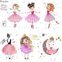 Prajna DIY Iron On Transfer Ballet Girl Patches For Clothes Stripe Heat Vinyl Patch Sticker Thermal Applique Badge