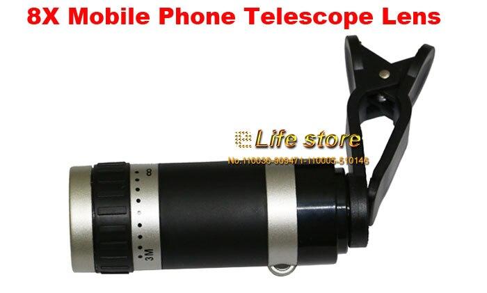 Universal 8x zoom lens mobile phone clip lens telescope lens for