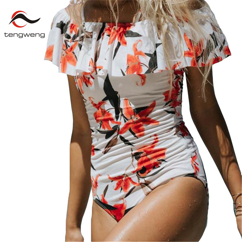 2017 Sexy Floral One Piece Swimsuit Halter Push Up Swimwear Women Ruffle Monokini Off Shoulder Bathing Suit Plus Size Beach Wear sexy one piece swimsuit plus size swimwear women bathing suit beach wear backless swimsuit monokini