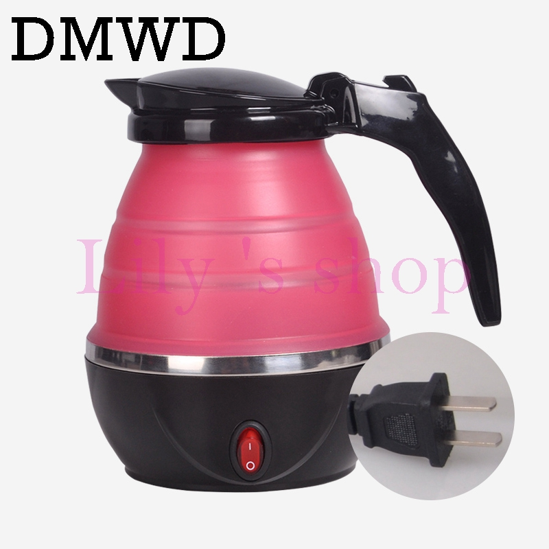 DMWD Travel Foldable Water Heating Pot Silicone Stainless Steel Mini Electric Kettle Camping Boiler Anti-dry Cup 110V 220V 0.8L