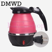 DMWD Travel Portable Foldable Water Heating Kettle Silicone Stainless Steel Electric Kettle 110V 220V Small Capacity