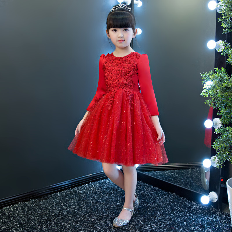 Red Shiny Flower Girl Dress For Evening Prom Party Costume 3-14T Girls Kids Wedding Dress Christening Gown Girl Princess Dress стоимость