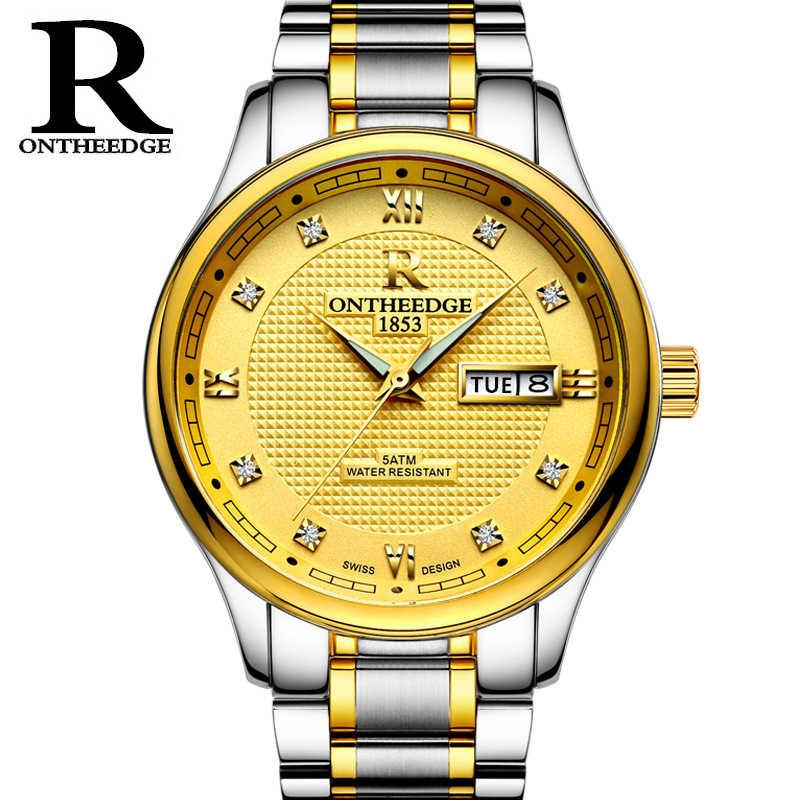 ONTHEEDGE למעלה גברים יוקרה לצפות מאז 1853 Mens עסקי שעוני יד רצועת נירוסטה מוצקה זכרים קלאסי קוורץ שעון מתנה