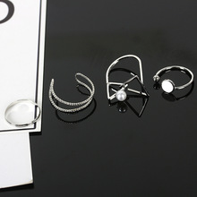 Trendy Women Rings Stainless Steel Hollow Silver Geometric Triangle Opening Ring Sets for Fingers Jewelry Accessories