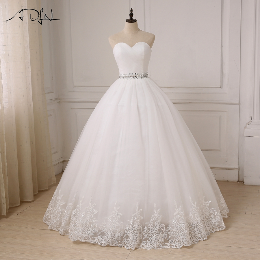 ADLN Cheap Wedding Dress Robe De Mariee Beading Belt Ball Gown Sweetheart Sleeveless Tulle Bride Dresses Vestido De Noiva