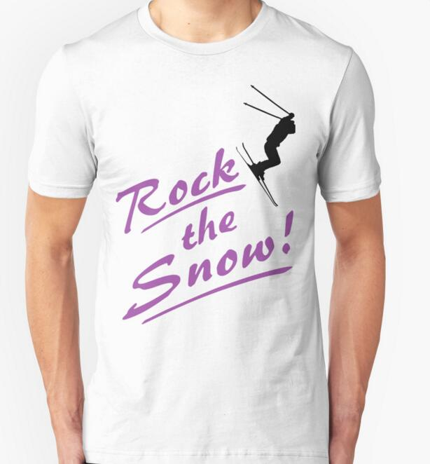 2016 Funny New Fashion Rock the Snow - Ski T-shirt 100% cotton sort sleeve T shirt O-neck Top Summer T Shirt Tee Plus Size