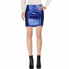 Top Fashion Blue Sequin Skirt Custom Made Accorder To Your Size Above Knee Short Mini Skirt Shiny Sexy Pencil Skirts Women