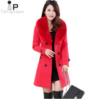 Harajuku Long Winter Coat Women Wool Coat Korean Plus Size Warm Red /black Double Breasted Windbreaker Elegant Womens Coats 5XL