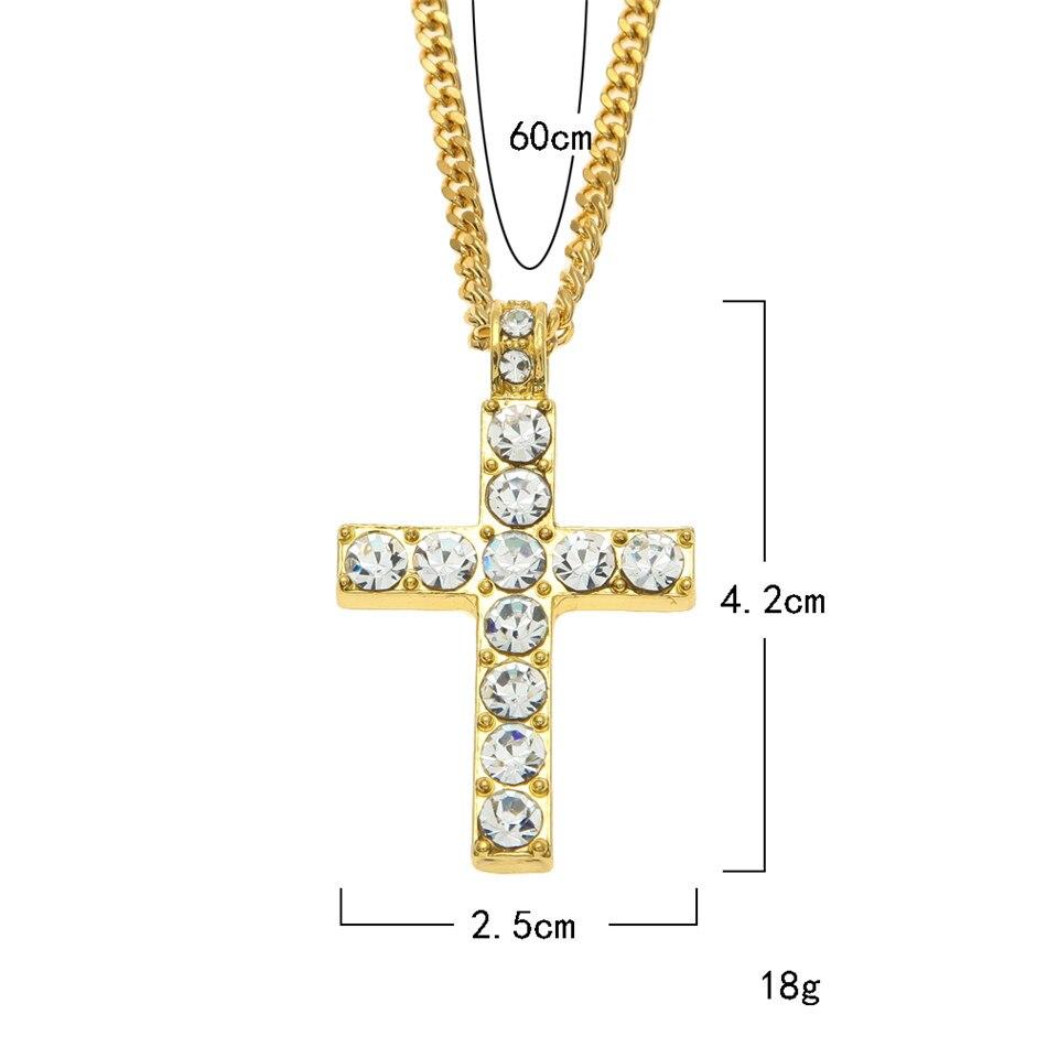 Hip Hop paduan warna emas lintas liontin kalung, Agama es berlian - Perhiasan fashion - Foto 2