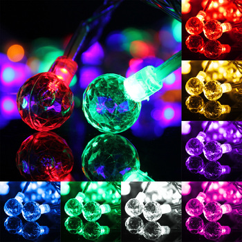10 m 100LED קריסטל כדור מחרוזת אור עמיד למים חיצוני גלוב פיית מנורת גן מסיבת חתונת חג המולד קישוט בית תאורה