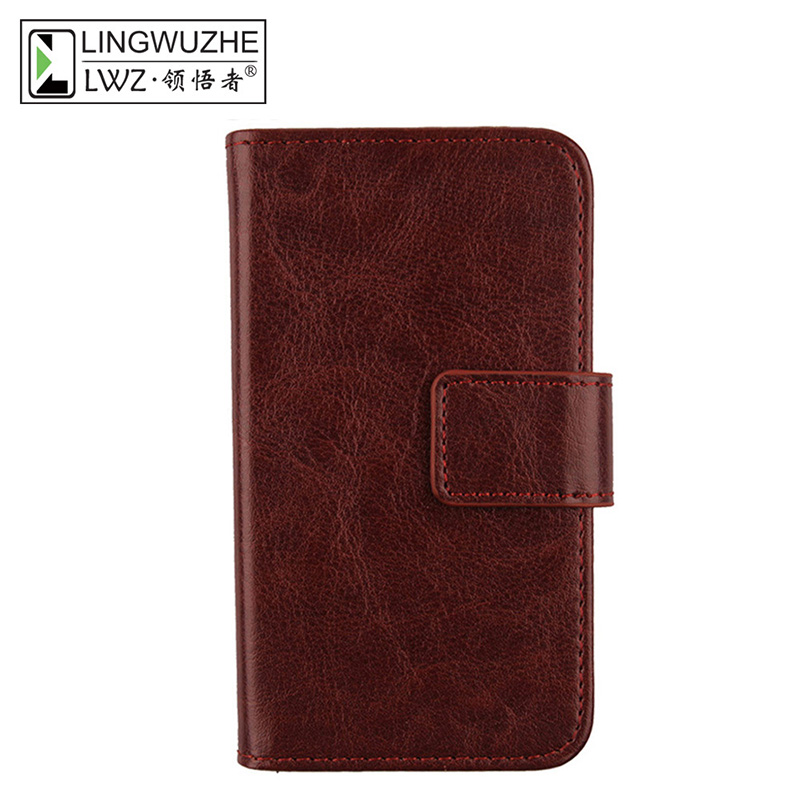 LINGWUZHE Minimalist Style Flip PU Leather Cell Phone Case Magnet Wallet Cover For Oukitel K7000 5