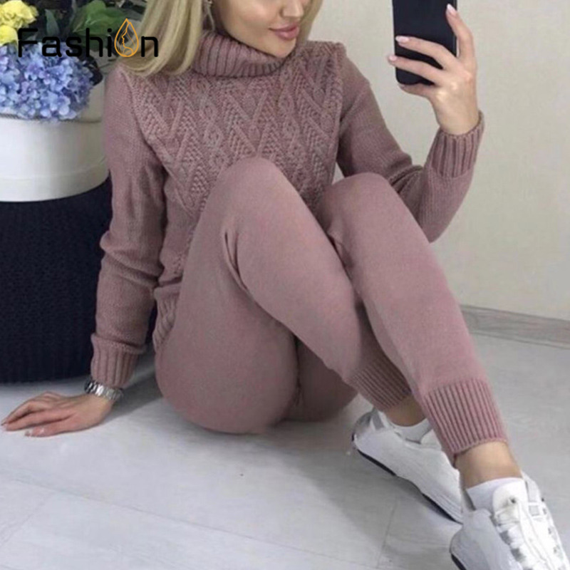 Autumn Winter Knitted Tracksuit 2 Piece Set Knit Turtleneck Sweatshirts Ladies Casual Suit Women Clothing Pant Sporting Suit-in Women's Sets from Women's Clothing    1