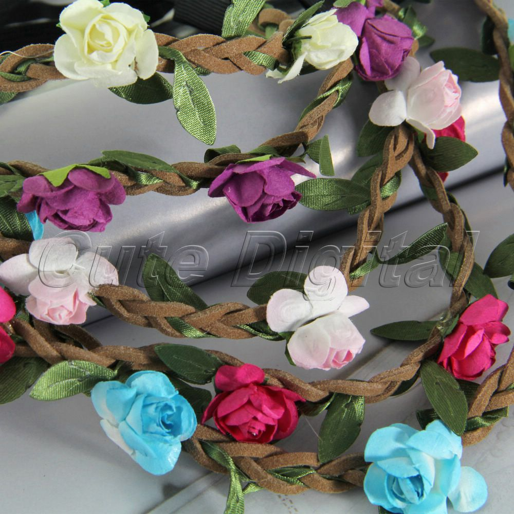 Elastic Festival Women Girl Bride Hair Wreaths Flower Headband Rose Crown Forehead Floral Band Party Wedding - CuteDigital store