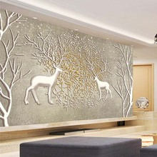 Custom Any Size 3D Wall Mural Wall Paper Non-woven Large Wall Painting Living Room Bedroom Sofa TV Backdrop Photo Wallpaper Elk цена 2017