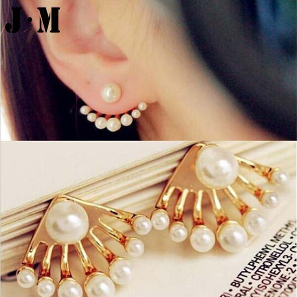1pair Price Earrings With Imitation Pearls 2017 Korean Style Invisible Small Gold Stud Pierced