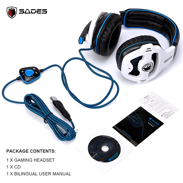 SADES SA-903 High-Performance 7.1 USB PC Headset Deep Bass Gaming Headphones With LED Micphone For Games Player 6