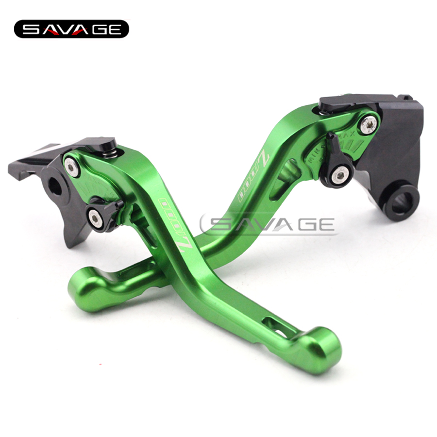 ФОТО For KAWASAKI Z 1000 Z1000 2003 2004 2005 2006 Green Motorcycle CNC Aluminum Adjustable Short Brake Clutch Levers logo Z1000