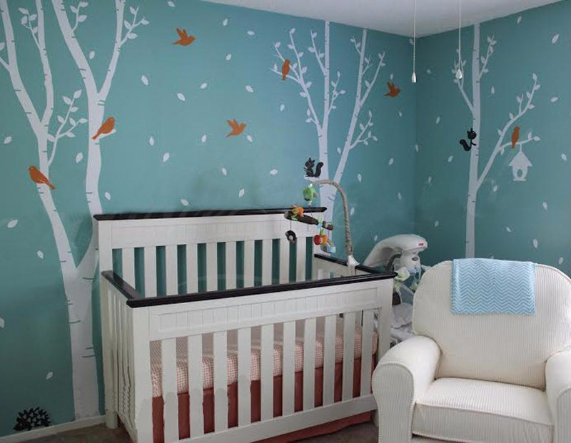Модная стильная детская спальня Милая декоративная настенная наклейка в детскую БОЛЬШУЮ елку с летящими птицами Березовое дерево винилова... - 2