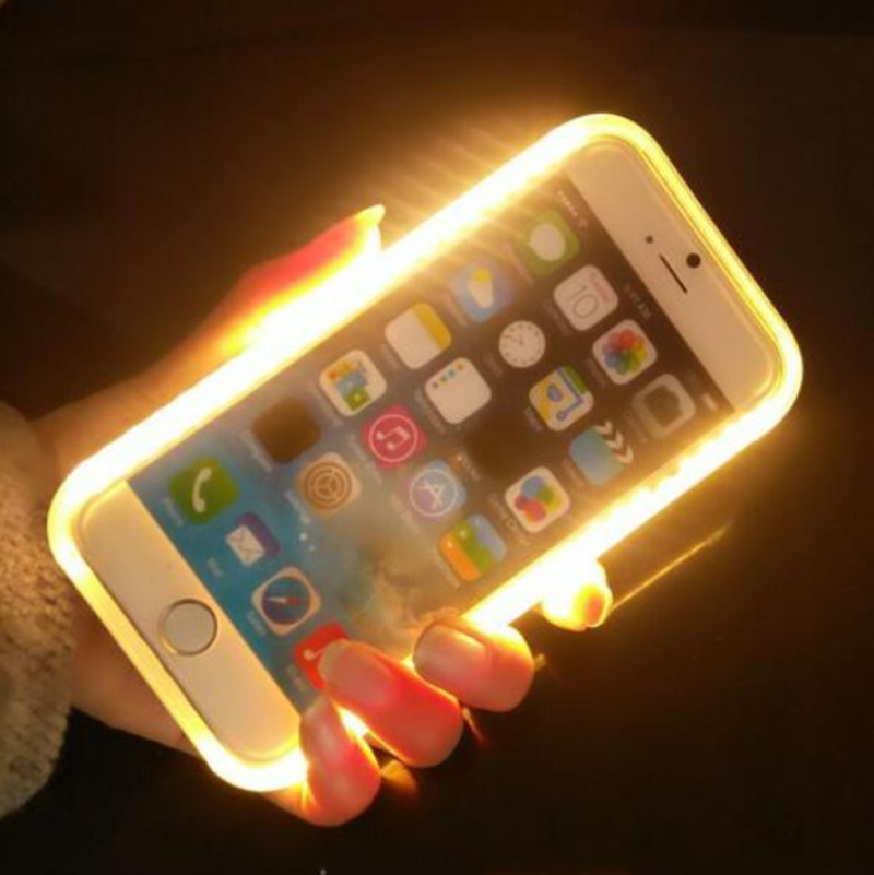pretty nice 3c2b8 ae9bc US $132.0 |15pcs Hybrid models Light up LED Selfie Light Case for iPhone 5  5S SE 6s Case luminous Back cover cap for samsung galaxy S6 7 on ...