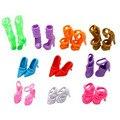10 Pares de Sapatos Boneca Da Moda Bonito Colorido Vários Estilos Mix Assorted Bonecas Sapatos Sandálias de Salto Alto Para Boneca Barbie Frete Grátis