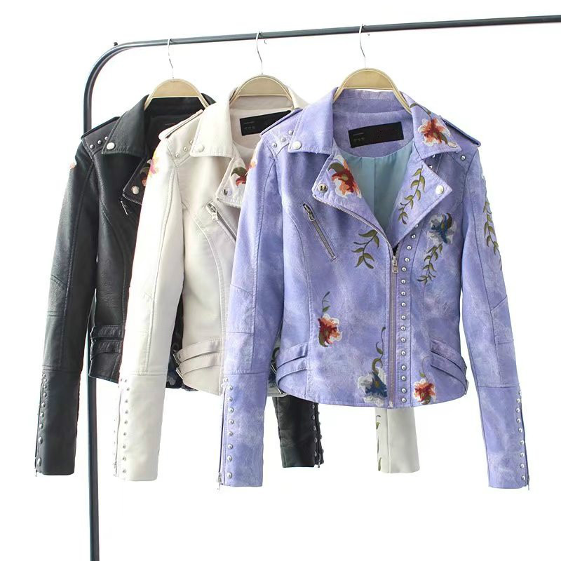 Autumn Women Flower Embroidery Punk Jacket Motorcycle Rivet Zipper PU   Leather   Slim Thin Short Coat Girls Faux   Leather   Streetwear