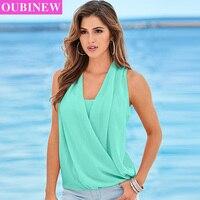 OUBINEW 여성 깊은 V 넥 조끼 여성 단색 불규칙 Bodycon 새로운 여름 섹시한 셔츠 패션 여성 쉬폰 민소매 조끼
