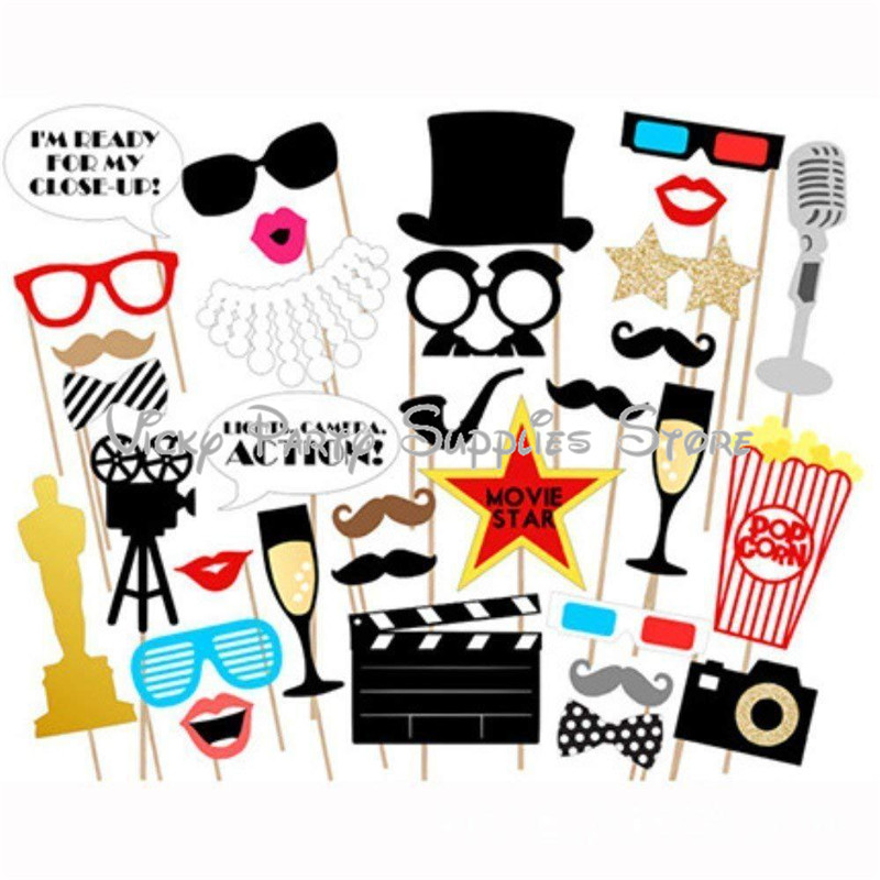33pcs/lot Movie Cinema Theme Party Photobooth Props Wedding Baby Shower Decorations Cartoon Photo Booth Props Party Supplies